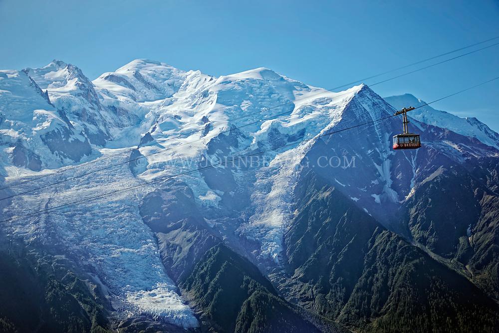 La Flégère Gondola passing Mont Blanc and the French Alps - Chamonix, France.