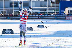 March 16, 2019 - Falun, SVERIGE - 190316 Stina Nilsson of Sweden celebrates after the win in the Women's cross-country skiing sprint final  the FIS Cross-Country World Cup on march 16, 2019 in Falun  (Credit Image: © Daniel Eriksson/Bildbyran via ZUMA Press)