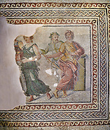 Roman mosaics - The Wedding of Dionysus mosaic. Dionysus Villa Ancient Zeugama, 2nd  century AD . Zeugma Mosaic Museum, Gaziantep, Turkey.<br /> <br /> <br /> The Wedding of Dionysus and Ariadne Mosaic, which belongs to the House of Dionysus, is one of the most special mosaics around the world. In the scene, Dionysus and Ariadne are sitting on a sofa. There are three maenads, musician, the wedding god and two sirens around them.  The mosaic gives the impression of a painting due to the rich variety of colors and luminous/shadow effects used. The fact that there are many figures within the mosaic and their high pictorial quality, on the other hand, makes the mosaic much more special.  The House of Dionysus is the villa where a rescue excavation was conducted in 1992 upon the received intelligence telling that traffickers had been digging the area. After the excavations, the mosaic now you behold was unearthed along with some geometric mosaics. In terms of the exactness in the anatomy of the figures, the perspective, and the rich variety of colors it is among the most precious and important mosaic around the world. <br /> <br /> <br /> The Museum had conducted activities in order to display the mosaic where it belongs and in a natural manner. However, such a big portion of the mosaic as two thirds was stolen by the historical artefact traffickers in 1998 from the place of display. The parts of the mosaic are not found yet. After the robbery, the remaining parts were transported to Gaziantep Museum and displayed after restoration. The stolen part of the mosaic was left blank. The searches continue in order to find the missing parts through the Interpol.