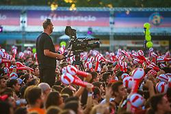 Público durante o show do Projota no Palco Planeta da 22ª edição do Planeta Atlântida. O maior festival de música do Sul do Brasil ocorre nos dias 3 e 4 de fevereiro, na SABA, na praia de Atlântida, no Litoral Norte gaúcho.  Foto: Lucas Uebel / Agência Preview
