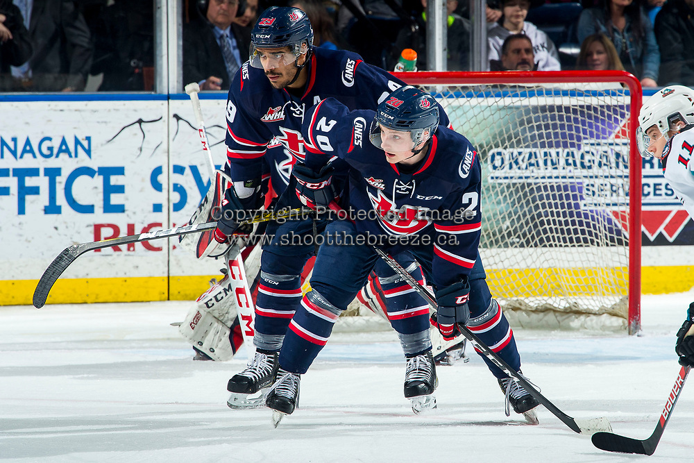 KELOWNA, BC - MARCH 7: Koletrane Wilson #29 and Alex Thacker #20 of the Lethbridge Hurricanes line up for the face-off against the Kelowna Rockets at Prospera Place on March 7, 2020 in Kelowna, Canada. (Photo by Marissa Baecker/Shoot the Breeze)