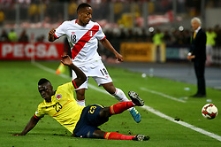 LIMA, Oct. 11, 2017  Peru's Andre Carrillo (Back) vies for the ball with Colombia's Davinson Sanchez (Front) during the Russia 2018 FIFA World Cup qualifier match, at the National Stadium of Lima, in Lima, Peru, on Oct. 10, 2017. The match ended in a draw 1-1.  ma) (da) (Credit Image: © Andina/Xinhua via ZUMA Wire)
