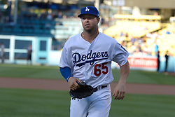 July 28, 2017 - Los Angeles, California, U.S. - Los Angeles Dodgers Kyle Farmer prior to a Major League baseball game against the San Francisco Giants at Dodger Stadium on Friday, July 28, 2017 in Los Angeles. (Photo by Keith Birmingham, Pasadena Star-News/SCNG) (Credit Image: © San Gabriel Valley Tribune via ZUMA Wire)
