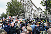 "Anti-lockdown protesters, who believe that the coronavirus pandemic is a hoax, gathered at the 'Unite For Freedom' outside Downing Street in central London on Saturday, Aug 29, 2020. Police officers and members of the press wearing face masks who are monitoring the gathering are often shouted at ""take off the Mask"". (VXP Photo/ Vudi Xhymshiti)"