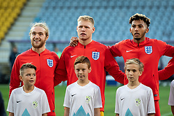 Thomas Davies of England, Aaron Ramsdale of England and Lloyd Kelly of England before friendly Football match between U21 national teams of Slovenia and England, on October 11, 2019 in Ljudski Vrt, Maribor, Slovenia. Photo by Blaž Weindorfer / Sportida