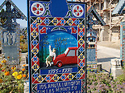 """The Dark Humor of Sapanta's Merry Cemetery<br /> <br /> Making jokes about dead people is considered disrespectful and traditionally frowned upon, but not in the small Romanian town of Sapanta. The villagers here have learned to embrace death with humor, as evident from the brightly colored tombstones in the local cemetery with epitaphs that often contain short funny rhymes full of wit and poking fun at the dead, telling their life stories or revealing their dirty secrets. One epitaph read:<br /> <br /> """"Underneath this heavy cross <br /> Lies my mother in law poor <br /> Had she lived three days more <br /> I'd be here and she would read <br /> You that are passing by <br /> Try not to wake her up <br /> For she comes back home <br /> She'll bite my head off <br /> But I'll act in the way <br /> That she will not return <br /> Stay here my dear <br /> Mother-in-law.""""<br /> <br /> The tradition was started by the village carpenter Stan Ioan Patras who was tasked with building the crosses and tombstones out of oak. After attending the traditional three-day-long funerals villagers would gather at the local watering hole to drink and tell stories about the deceased. Patras started turning these stories into brief poems and began carving them onto the oak slabs. He scrawled his first verse on a tomb around 1935. He continued creating them until his death in 1977, and is estimated to have built in excess of 800 limerick-filled tombs. After his death, his apprentice Dumitru Pop has taken over and has been continuing this unique tradition ever since.<br /> <br /> Nowadays, when someone in the village dies, the family comes to Dumitru Pop and asks him to create a cross, which he hand-carves from oak in the small workshop behind his house. He paints the oak slab blue and decorates it with floral borders and a riot of colors. He then paints an image depicting the person's life and composes a poem. Pop alone decides what the picture will portray and what the verse will say. Hi"""