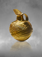 Bronze Age Hattian gold flask from Grave K, possibly a Bronze Age Royal grave (2500 BC to 2250 BC) - Alacahoyuk - Museum of Anatolian Civilisations, Ankara, Turkey .<br /> <br /> If you prefer to buy from our ALAMY PHOTO LIBRARY  Collection visit : https://www.alamy.com/portfolio/paul-williams-funkystock/royal-tombs-alaca-hoyuk-bronze-age.html (TIP refine search by adding background colour in the LOWER search box)<br /> <br /> Visit our ANCIENT WORLD PHOTO COLLECTIONS for more photos to download or buy as wall art prints https://funkystock.photoshelter.com/gallery-collection/Ancient-World-Art-Antiquities-Historic-Sites-Pictures-Images-of/C00006u26yqSkDOM