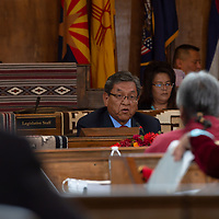 Navajo Nation President Russell Begaye, addresses the delegates of the Navajo Nation Council Fall Session, in Window Rock.