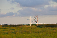 """Cross marks the spot of the Point-au-Chien tribes ancestral burial ground along Bayou Point-au-Chien in Terrebonne Parish. The area is threatened by coastal erosion .The area between Pointe-aux-Chien and  Isle de Jean Charles is known as the bathtub, and was used as the set in the Oscar nominate film """"Beasts of the Southern Wild""""."""