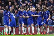 Chelsea midfielder Willian (22) celebrates with teammates after scoring a goal (1-0) during the The FA Cup fourth round match between Chelsea and Sheffield Wednesday at Stamford Bridge, London, England on 27 January 2019.