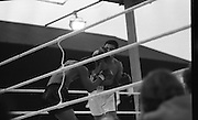 Ali vs Lewis Fight, Croke Park,Dublin..1972..19.07.1972..07.19.1972..19th July 1972..As part of his built up for a World Championship attempt against the current champion, 'Smokin' Joe Frazier,Muhammad Ali fought Al 'Blue' Lewis at Croke Park,Dublin,Ireland. Muhammad Ali won the fight with a TKO when the fight was stopped in the eleventh round...Ali missses with a right as Lewis ducks below the intended blow.
