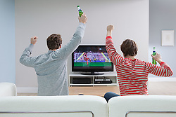 Dec. 04, 2012 - Two young men watching football on television (Credit Image: © Image Source/ZUMAPRESS.com)