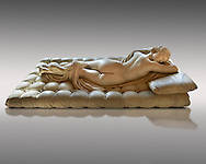 """Sleeping Hermaphroditus.  A Life size ancient 2nd century AD Roman statue sculpted in Greek Marble and found in the grounds of Santa Maria della Vittoria, near the Baths of Diocletian, Rome. It was added to the Borghese Collection by Cardinal Scipione Borghese, in the 17th century and was named the """"Borghese Hermaphroditus"""". It was later sold to the occupying French and was removed it to The Louvre. Hermaphrodite, son of Hermes and Aphrodite had repels the advances of the nymph Salmacis. However, she got Zeus as their two bodies are united in a bisexual being. The Sleeping Hermaphroditus has been described as a good early Imperial Roman copy of a bronze original by the later of the two Hellenistic sculptors named Polycles (150 BC) the original bronze was mentioned in Pliny's Natural History. In 1619  Bernini sculpted the mattress on which the ancient marble of Hermaphrodite lies. Louvre Museum, Paris"""