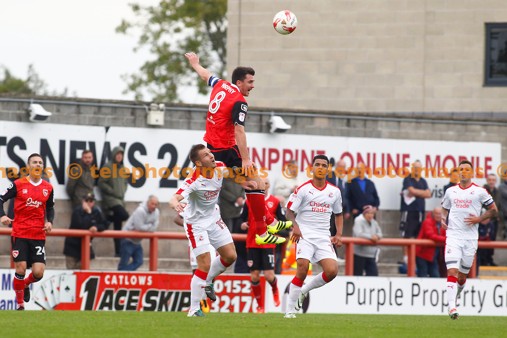 Crawley Town's James Collins and Morecambe's Peter Murphy during the Sky Bet League 2 match between Morecambe and Crawley Town at the Globe Arena in Morecambe. September 24, 2016.<br /> John Marsh / Telephoto Images<br /> +44 7967 642437
