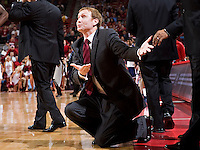 FAYETTEVILLE, AR - MARCH 4:   Head Coach John Pelphrey of the Arkansas Razorbacks pleads with an official from his knees during their game against the Ole Miss Rebels at Bud Walton Arena on March 4, 2009 in Fayetteville, Arkansas.  The Rebels defeated the Razorbacks 98-91.  (Photo by Wesley Hitt/Getty Images) *** Local Caption *** John PelphreyUniversity of Arkansas Razorback Men's and Women's athletes action photos during the 2008-2009 season in Fayetteville, Arkansas....©Wesley Hitt.All Rights Reserved.501-258-0920.