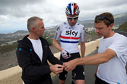 © London News Pictures. File picture dated 19/05/2012. Olympic gold medal cyclist Bradley Wiggins (centre) with his head coach Shane Sutton (left) while training in Tenerife, Spain in May 2012. Shane Sutton has been injured in a cycling accident just hours after Bradley Wiggins  was involved in a collision with a van while on his bike. Photo credit: Ben Cawthra/LNP