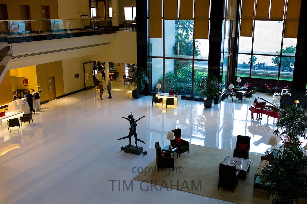 Lobby and Reception area with piano in the 5-star Oberoi Mumbai Hotel at Nariman Point, Mumbai, Bombay, Maharashtra, India