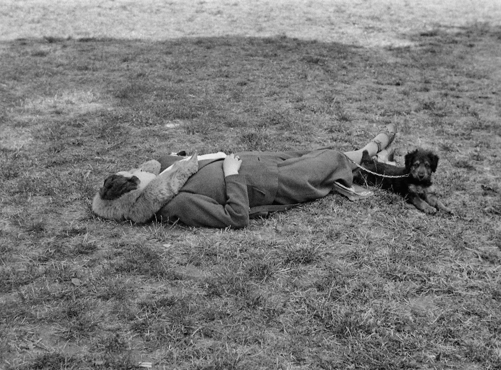 Woman Sleeping on the Grass with Dog, London, 1934