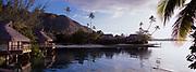 Panoramic of Moorea lagoon at the Beachcomber International Hotel, Society Islands, French Polynesia