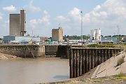Sharpness shipyard and dry dock, lock gates  entrance from River Severn, Gloucestershire, England, UK