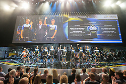 © Licensed to London News Pictures . 03/07/2014 . Leeds , UK . Team Netapp-Endura from Germany on the stage . Tour de France Team Presentation in front of a live audience of 10,000 people at the Leeds Arena and worldwide TV audience in excess of 300 million . Photo credit : Joel Goodman/LNP