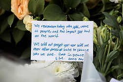 © Licensed to London News Pictures. 03/06/2018. London, UK. A note left on flowers from Home Secretary Sajid Javid, marking one year since the London Bridge and Borough Market terror attacks. A series of events have taken place throughout the day, including a service of commemoration at Southwark Cathedral, the planting of an olive tree in the Cathedral grounds, a minute's silence at 4:30pm and the laying of flowers.  Photo credit : Tom Nicholson/LNP