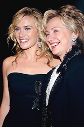 Cast member Kate Winslet and Senator Hillary Rodham Clinton (D - NY) pose as they arrive at the ïFinding Neverland' premiere, held at the Brooklyn Museum in New York, on Monday, October 25, 2004. Photo by Nicolas Khayat/ABACA.