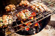 Small herbed pork patties BBQ in a street restaurant, Hanoi, Vietnam, Southeast Asia.
