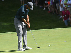 August 9, 2018 - St. Louis, Missouri, U.S. - ST. LOUIS, MO - AUGUST 09: Tiger Woods sinks a long putt on the #15 green during the first round of the PGA Championship on August 09, 2018, at Bellerive Country Club, St. Louis, MO.  (Photo by Keith Gillett/Icon Sportswire) (Credit Image: © Keith Gillett/Icon SMI via ZUMA Press)