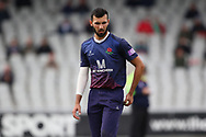 Lancashires Saqib Mahmood during the Royal London 1 Day Cup match between Lancashire County Cricket Club and Derbyshire County Cricket Club at the Emirates, Old Trafford, Manchester, United Kingdom on 2 May 2019.