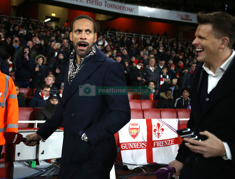 02 December 2017 London : Premier League Football : Arsenal v Manchester United - Jake Humphrey of BT Sport television (right) laughs as Rio Ferdinand replies to the abuse from Arsenal fans with some choice words of his own.<br /> (photo by Mark Leech)
