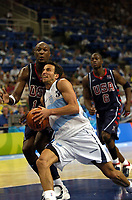 27/08/04 - ATHENS  - GREECE -  - BASKETBALL SEMIFINAL MATCH   - Indoor Olympic Stadium - <br />ARGENTINA win (89) over USA United States of America (81) <br />Argentine celebration after win the match.<br />Argentine player N*5 EMANUEL GINOBILI and USA N*14 ODOM LAMAR andN*6 WADE Jr.<br />© Gabriel Piko / Argenpress.com / Piko-Press