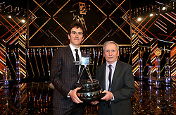 Geraint Thomas poses with his father Howell Thomas after winning the BBC Sports Personality of the Year award during the BBC Sports Personality of the Year 2018 at Birmingham Genting Arena.