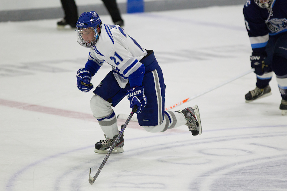 Ben Chwick, of Colby College, in a NCAA Division III hockey game against Connecticut College on December 7, 2013 in Waterville, ME. (Dustin Satloff/Colby College Athletics)