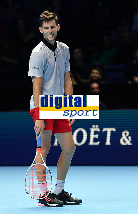 Tennis - 2018 Nitto ATP Finals at The O2 - Day Five<br /> <br /> Group Singles Group Lleyton Hewitt: Dominic Thiem (AUT) vs. Kei Nishikori (JPN)<br /> <br /> Thiem enjoying himself in the second set.<br /> <br /> COLORSPORT/ASHLEY WESTERN