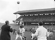 Archbishop of Cashel throws the ball in for the start of the All Ireland Senior Gaelic Football Final Kerry v Down in Croke Park on the 22nd September 1960. Down 2-10 Kerry 0-8.