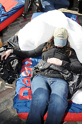 ©  licensed to London News Pictures. . UK.27/04/2011.Royal Wedding Preparations today in London with only two days to go before the big day..A Royal  camper  sleeping outside Westminster..Please see special instructions..Picture credit should read Grant Falvey/LNP......