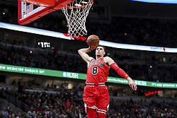 January 17, 2018 - Chicago, IL, USA - Chicago Bulls guard Zach LaVine (8) dunks during the first half against the Golden State Warriors at the United Center in Chicago on Wednesday, Jan. 17, 2018. The Warriors won, 119-112. (Credit Image: © Armando L. Sanchez/TNS via ZUMA Wire)