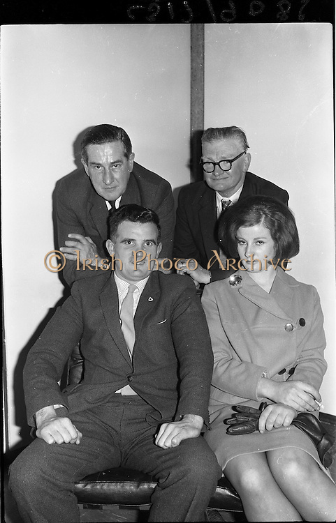 09/02/1964<br /> 02/09/1964<br /> 09 February 1964<br /> Ranks Television Question Time Team at Telefis Eireann studio, Donnybrook, Dublin. Image shows Members of the Ranks, Ireland Sales Ltd. Team, who took part in the Television Question Time on Telefis Eireann (Sun. 9/2/64), opposing Messrs. Guinness. Included  front (l-r): Mr M. Manning and Miss B. Donnellan. Back (l-r) Mr M.B. Stubbs, Director and Mr M. Butler.