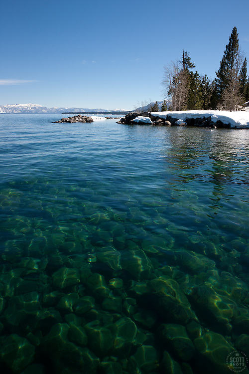 """""""Kaspian Point, Lake Tahoe 1"""" - Photograph of rocks under the clear water of Lake Tahoe at Kapsian Point."""