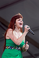 02 May 2014. New Orleans, Louisiana.<br /> Theresa Andersson at the New Orleans Jazz and Heritage Festival. <br /> Photo; Charlie Varley/varleypix.com