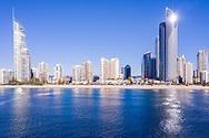 Aerial view of Surfers Paradise beach & skyline, Gold Coast, Queensland, Australia