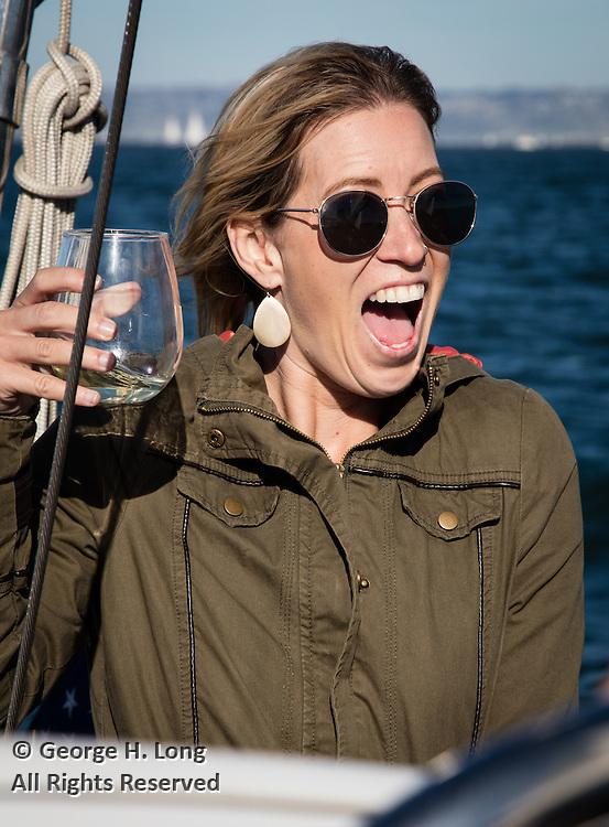 Tia Glover raises a glass on the high seas of San Francisco Bay