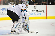 DALLAS, TX - OCTOBER 17:  Antti Niemi #31 of the San Jose Sharks stops a shot against the Dallas Stars on October 17, 2013 at the American Airlines Center in Dallas, Texas.  (Photo by Cooper Neill/Getty Images) *** Local Caption *** Antti Niemi