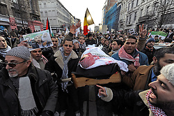 Thousands of people protest against the Israeli air strikes on Gaza, during a demonstration in Brussels, Belgium, Sunday, Jan. 11, 2009. (Photo © Jock Fistick)