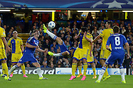 Diego Costa of Chelsea attempts a bicycle kick. UEFA Champions League group G match, Chelsea v Maccabi Tel Aviv at Stamford Bridge in London on Wednesday 16th September 2015.<br /> pic by John Patrick Fletcher, Andrew Orchard sports photography.
