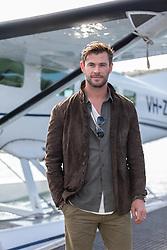 AU_1637458 - Sydney, AUSTRALIA  -  Chris Hemsworth Launches TAG Heuer Autavia Collection with a Seaplane at Rose Bay<br /> <br /> Pictured: Chris Hemsworth<br /> <br /> BACKGRID Australia 25 JUNE 2019 <br /> <br /> BYLINE MUST READ: Brandon Voight / BACKGRID<br /> <br /> Phone: + 61 419 847 429<br /> Email:  sarah@backgrid.com.au