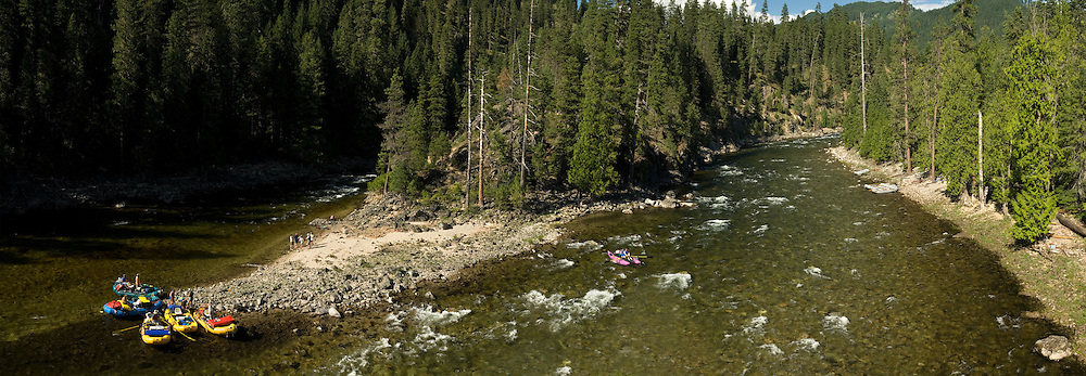 Panorama of raft groups on at the confluence of Selway River and Moose Creek in the Selway - Bitterroot Wilderness, Idaho.