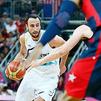 06 August 2012: Argentina Manu Ginobili is seen during 126-97 Team USA victory over Team Argentina, during the men's basketball preliminary, at the Basketball Arena, in London, Great Britain.