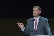Eric Trump, son of GOP Presidential candidate Donald Trump addresses the delegates during the third day of the Republican National Convention July 20, 2016 in Cleveland, Ohio.